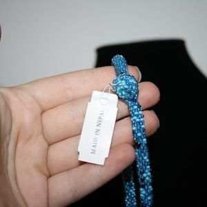 Vintagejelyfish Jewelry - Nwt Blue beaded necklace with toggle